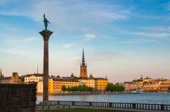 纪念碑Engelbrekt看法在斯德哥尔摩政府大厦,瑞典附近的 库存照片