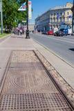 以纪念第一辆圣彼德堡电车的石碑,俄罗斯 库存照片