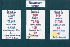 纪念高尔夫球比赛Stats 免版税库存照片