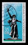 纪念`祖国`伏尔加格勒,国际提示和纪念品serie,大约1983年 库存照片