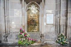 纪念黄铜致力了简・奥斯丁,英国小说家 库存图片