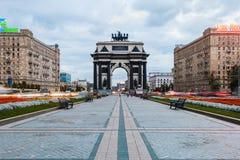 纪念以N的俄罗斯的胜利的莫斯科凯旋门  免版税库存照片