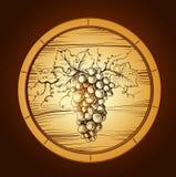 纬向条花酒 标签用葡萄,酒桶桶 库存例证