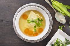 纯净汤用馄饨、红萝卜和ramson在黑暗老木 库存图片