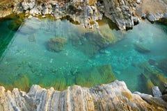 纯净的绿松石河水和白色岩石地区看法  自然本底 免版税库存照片