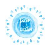 纯净的水传染媒介例证 水彩蓝色飞溅和下落在白色 库存例证