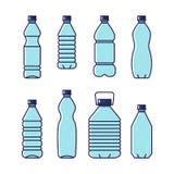 纯饮用水 排行套的传染媒介例证塑料瓶 免版税库存照片