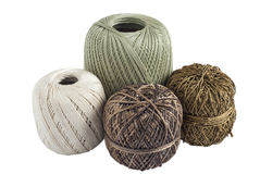 纱线四个丝球编织的 库存照片