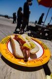 从纳丹的著名热狗的热狗在科尼岛 免版税库存图片