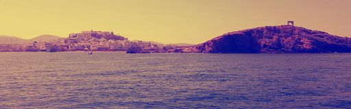 纳克索斯,希腊港海岸线  免版税库存照片