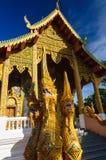 纳卡人在佛教寺庙附近的蛇雕象 图库摄影