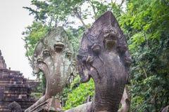 纳卡人头或大蛇在Phanom雕刻敲响了岩石建造的历史公园在Phanom阶山buriram省 库存照片