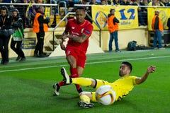 纳塔涅尔・克莱因使用在比亚雷亚尔锎和利物浦足球俱乐部之间的欧罗巴同盟半决赛 图库摄影