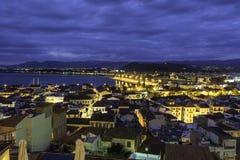 纳夫普利翁市从上面日落的 免版税库存照片