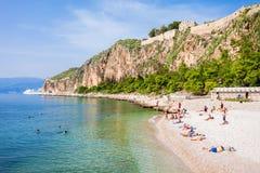 纳夫普利翁市海滩,希腊 免版税图库摄影