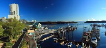 纳奈莫江边和船坞,温哥华岛 免版税库存照片