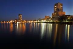 纳奈莫港口微明,不列颠哥伦比亚省 免版税库存图片