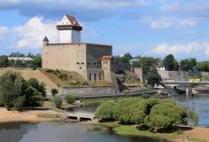 纳尔瓦城堡在爱沙尼亚 免版税库存图片