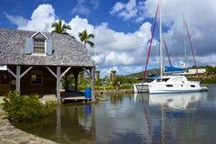 纳尔逊的造船厂在安提瓜岛,加勒比 免版税库存照片