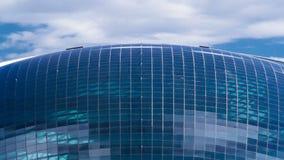 纳扎尔巴耶夫中心和蓝色塔,与云彩ond反射 阿斯塔纳卡扎克斯坦 股票视频
