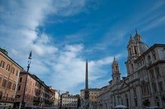 纳沃纳广场全景在罗马 免版税库存照片