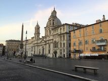 纳沃纳广场是一个正方形在罗马,意大利 图库摄影