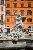 纳沃纳广场,海王星喷泉在罗马,意大利 免版税库存照片