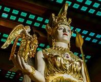纳稀威, TN美国-百年公园雅典娜帕台农神庙复制品大雕象有耐克的 免版税图库摄影