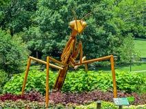 纳稀威, TN美国- Cheekwood公园巨型木螳螂雕刻 库存图片