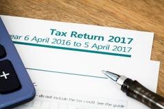 纳税申报英国2017年 免版税图库摄影