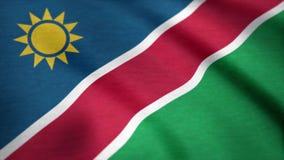 纳米比亚的旗子有织品纹理的,无缝的圈 纳米比亚沙文主义情绪在风 与粗砺的纺织品的背景 向量例证