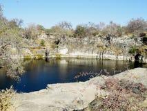 纳米比亚` s湖Otjikoto污水池 免版税库存图片