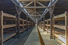 纳粹阵营比克瑙营房的内部的波兰奥斯威辛比克瑙19 9月2018视图  库存图片