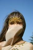 纵向东方服装的女孩 图库摄影