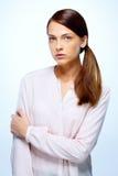 纵向严重的妇女 免版税库存图片