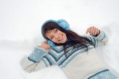 纵向冬天妇女 图库摄影