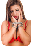 纵向受害者妇女 免版税库存图片