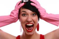 纵向叫喊的妇女 免版税库存图片