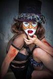 纵向可怕妖怪小丑 免版税库存照片