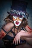 纵向可怕妖怪小丑 免版税库存图片