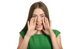 纵向呼喊的妇女 免版税库存照片