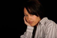 纵向哀伤的妇女年轻人 免版税图库摄影