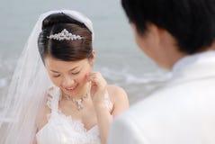 纵向婚礼 免版税库存照片