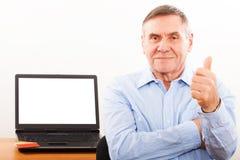 纵向年长人微笑 免版税库存照片