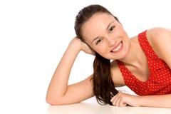 纵向微笑的妇女 免版税图库摄影