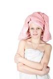 纵向毛巾妇女被包裹 免版税库存照片
