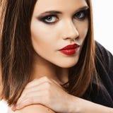 纵向肉欲的妇女 表面 直接头发 beauvoir 免版税库存图片