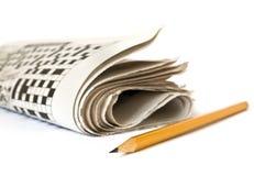 纵横填字谜报纸 免版税库存照片