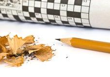 纵横填字谜铅笔 库存照片