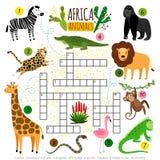 纵横填字谜非洲动物 哄骗小学生的动物园非洲纵横填字谜,词搜寻的比赛 库存图片